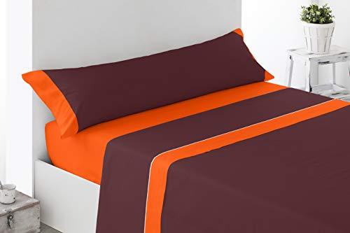 Cabetex Home - Juego de sábanas Lisas - Colores Combinados - 3 Piezas - Microfibra Transpirable (Naranja/Chocolate, 90_x_190/200 cm)