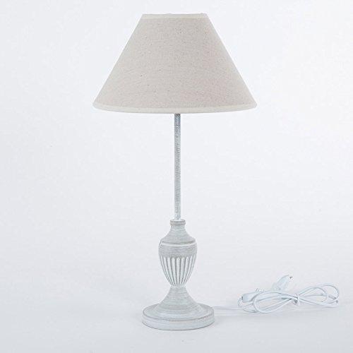 DiKasa Home Lampada da Tavolo Shabby, Metallo, Ecru, 25x25x47 cm