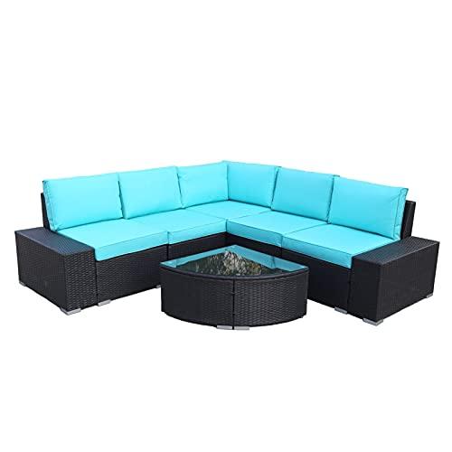Conjuntos de muebles de patio 6 pcs patio al aire libre EDUCACIÓN FÍSICA siste-ma de muebles de mimbre de ratán en sección 2 medio + 2 reposabrazos + 1 sofá de esquina + 1 mesa de té conjuntos de mueb