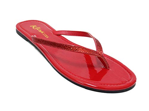 Women's Glitter Classic Casual Flat Thong Flip Flops Sandals Shoes LS012 (9, Red)