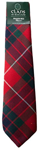 I Luv Ltd Fraser Red Modern Clan 100% Wool Scottish Tartan Tie