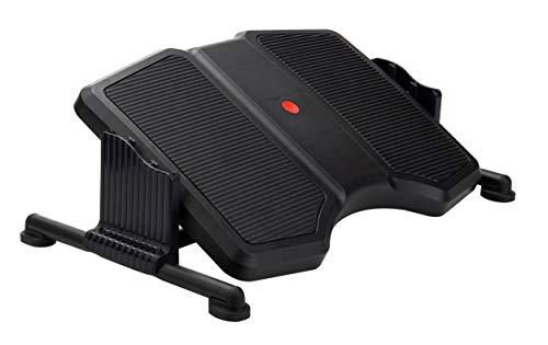 Mind Reader Active Adjustable Footrest for Under Desk, Ergonomic Tilting Design, Non-Slip Surface, Customizable Height Levels, Black