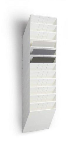Durable 1709781010 - Flexiboxx 12 A4 Orizzontale, Espositore da Parete, Formato A4 Orizzontale, 12 Comparti, 348 x 1140 x 95 mm, Bianco
