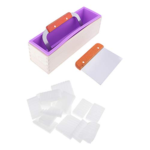 chiwanji Silicone Soap Making Mold Loaf with 2X Soap Cutter and 500g White Soap Base