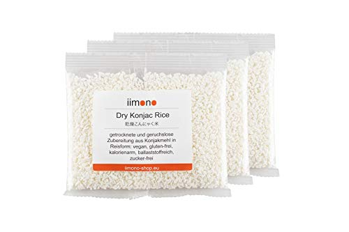 iimono Dry Konjac Rice - kalorienarmer & kohlenhydratarmer Konjak-Reis (3 x 50g)
