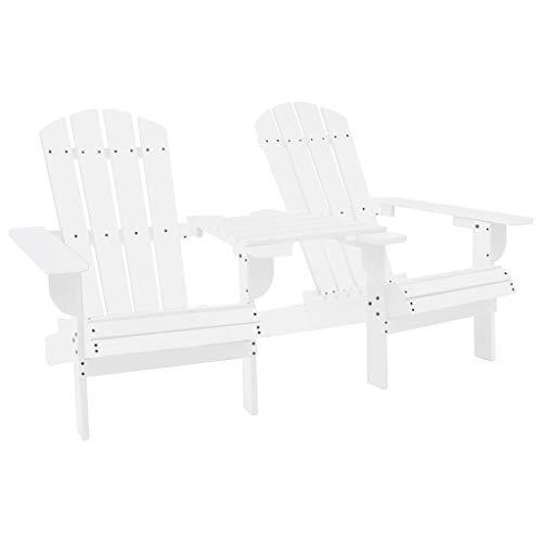 Festnight Adirondack Chair Adirondack-Gartenstuhl Gartenstuhl Holz Holzliegestuhl Gartenstuhl weiß Gartenliege Holz Wetterfest Massivholz Tanne 181/164 x 91,5 x 90 cm
