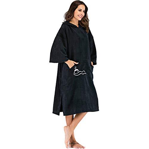 Cuasting Toalla de playa de estado de ánimo sólido que cambia de color liso, toalla de surf con capucha, vestido de playa para adultos, 110 x 75 cm, con bordado