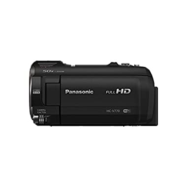 PANASONIC HC-V770 Full HD Camcorder, 20X Optical Zoom, 1/2.3  BSI Sensor, 5-Axis Hybrid O.I.S, HDR Capture, WiFi Smartphone Twin Video Capture (USA Black)
