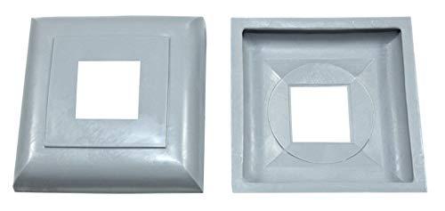 SN-TEC Abdeck Rosetten Eckig für Geländer | Rohre | Heizungen usw, Schwarz/Weiß/Grau (10 Stück) (Aussen 40x40mm / Innen 16x16mm, Grau)