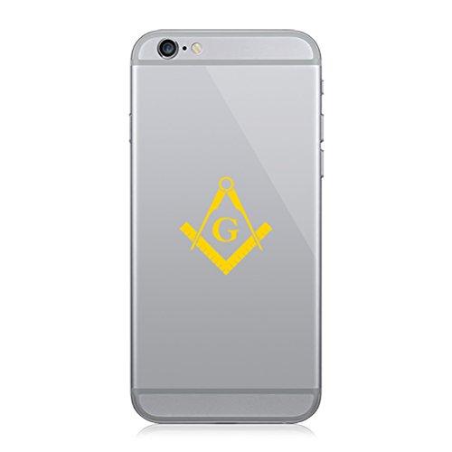 RDW Pair of Freemasonry Emblem Cell Phone Stickers Mobile Freemason Masonic - Yellow Gold