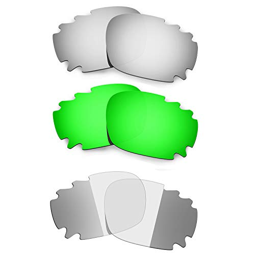 Hkuco Titanium/Emerald Green/Transition/Photochromic Polarized Replacement Lenses For Oakley Racing Jacket Vented Sunglasses