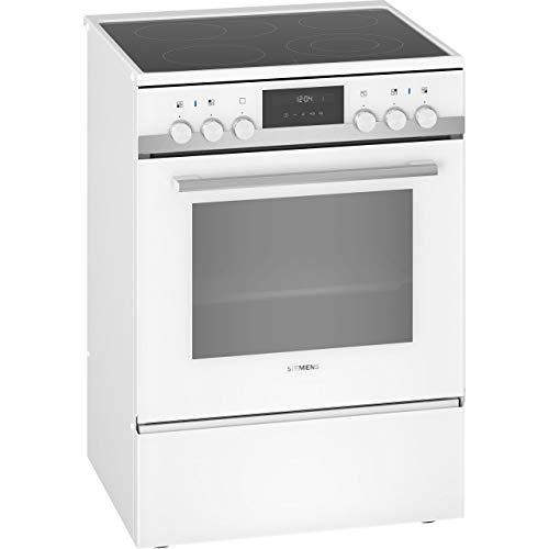 Siemens HK9S5A220 iQ500 freistehender Elektroherd mit Glaskeramik-Kochfeld / A / 60 cm / Weiß / ecoClean Reinigung / Schnellaufheizung / cookControl 10 Automatikprogramme