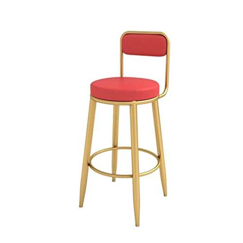 Barkruk Dining Side Chair, hoge barkruk, voeten van metaal, gouden pub, vrijetijdsbehang, eetkamerstoelen, PU-lederen kussens max. 200 kg, rood. Kleur: Seat 25,5 inch, barkruk.
