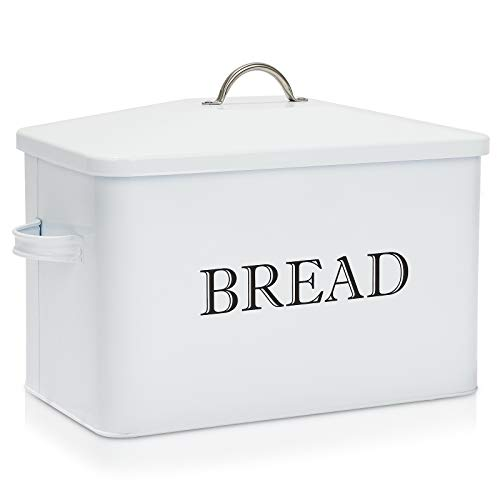 Metal Bread Box, Countertop Bread Storage Bin, Vintage Bread Container, Loaves for All Your Bread Storage, Bread Storage Tin with Lid, Bread Storage Box for Kitchen, White with BREAD Lettering