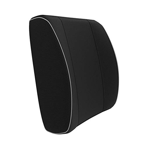 Lumbar Pillow Back Support Pillow Memory Foam Lumbar Support Pillow Lumbar Back Cushion Best Office Home Chair Car (Black) (Color : Black, Size : 1312.54.25 inches)