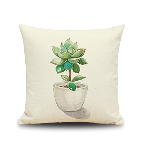 KnBoB Funda Almohada Beige Verde Plantas Suculentas 45x45 cm Hecho de Lino Cuadrado Decoración Interiores - Estilo 3