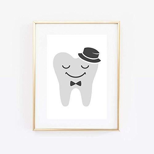 Din A4 Kunstdruck - ungerahmt - Zahn mit Hut Zähne Zahnarzt Zahnfee Comic Style Druck Poster Bild
