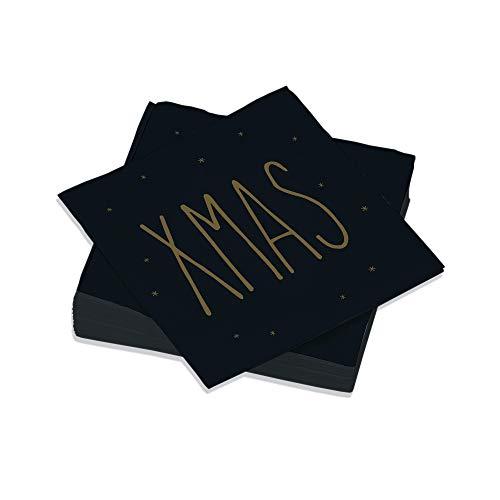 Le Nappage - Servilletas decoradas XMAS Negro - Servilletas de papel en...