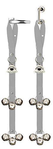 Caldwell's Pet Supply Co. Potty Bells Dog Doorbells for Housetraining Potty Training Dog or Puppy - Large Pleasant Sounding Bells Thick Durable Adjustable Strap Door Bell (Set of 2 Potty Bells, Gray)