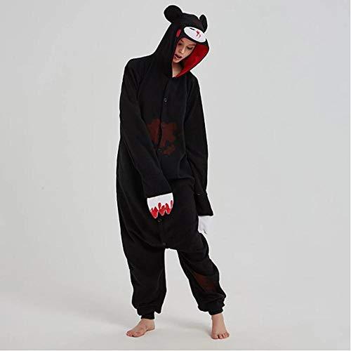LLCA Sleepwear Gloomy Bear Kigurumis Cartoon Anime Animal Pajama Adult Unisex Polar Fleece Onesie Halloween Outfit Funny Cool Winter Overall-Black-Gloomy_S