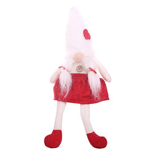 Ponacat 1 Pieza de muñeca navideña de Patas largas muñeca de Felpa sin Rostro Colgantes