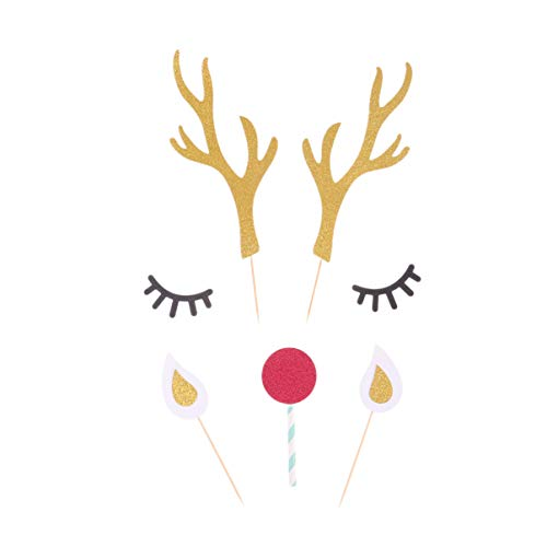 SUPVOX Antler Cake Toppers Reindeer Cake Decoration Glitter Christmas Cupcake Picks for Xmas Holiday Birthday Wedding Baby Shower Decor Party Supplies 5 Sets