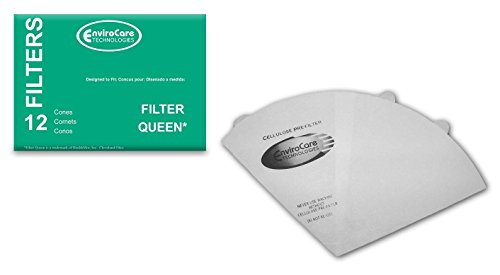 EnviroCare Replacement Vacuum Cleaner Filter Cones made to fit Filter Queen Vacuums 12 Cones and 2 Filters