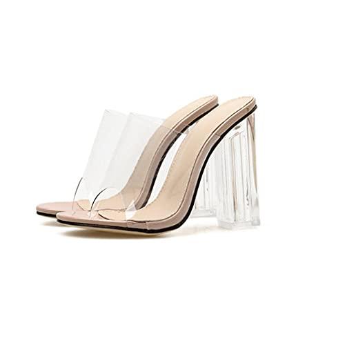 CCSSWW Zapatos de Punta Abierta Damas de tacón cómodo,Sandalias de Mujer Sexy de Cristal y Zapatillas.-Albaricoque_37,Clásicos Mujer Abierto tacone Matrimonio Ceremonia Simple