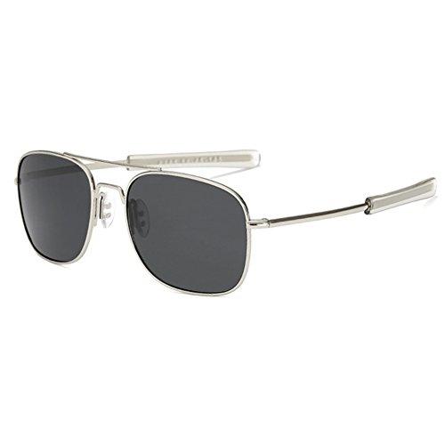LUDEM Mens Military Aviator Sunglasses Polarized Square 55mm Pilot Bayonet Temples (Silver & Grey, 55)