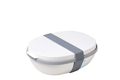 Rosti Mepal ELLIPSE Duo Reusable Meal Prep Lunch Box, 22.5 x 17.5 x 7.5 cm, White