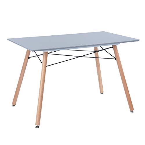"""Furniture-R France """"Maddie"""" Rechteckiger Esstisch für 2 bis 4Personen, skandinavisches Design, massiv, lackierte Beine aus Buche, 110 x 70 x 74cm Skandinavien grau"""