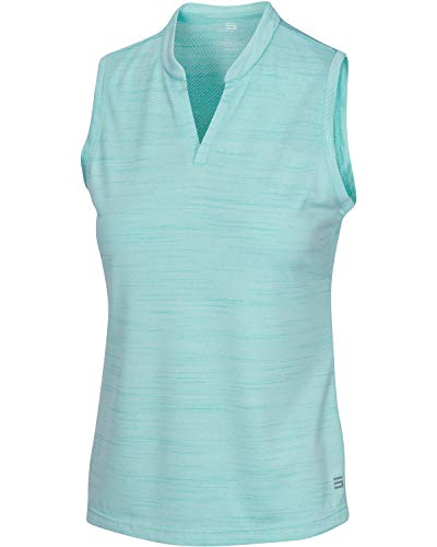 Women's Sleeveless Collarless Golf Polo Shirt - Dry Fit, Breathable, Compression Golf Tops Aqua Blue