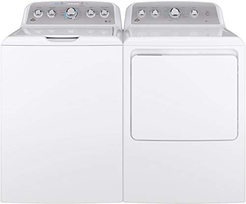 "GE Top Load Speed Wash GTW500ASNWS 27"""" Washer with Front Load GTD45GASJWS 27"""" Gas Dryer Laundry Pair in White"