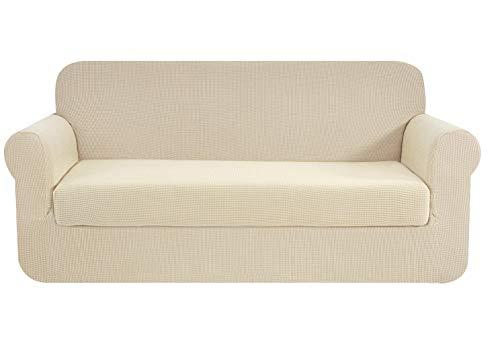 E EBETA Tunez Funda sofá Duplex, Funda de sofá, Tejido Jacquard de poliéster y Elastano, Funda de Clic-clac elástica Cubiertas de sofá de 2 Plaza (Marfil, 145-185 cm)