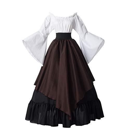 GRACEART Damen Viktorianisch Barock Rokoko Kleid Kostüm Renaissance Mittelalter Kleid (L, Braun)