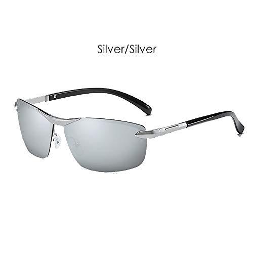 LDQLSQ LDQLSQ Men es Classic Polarized Metal Half Frame Color Sunglasses 6086 Anti-Glare Polarized Outdoor Sports Driving Fashion Square Gläser,Silver