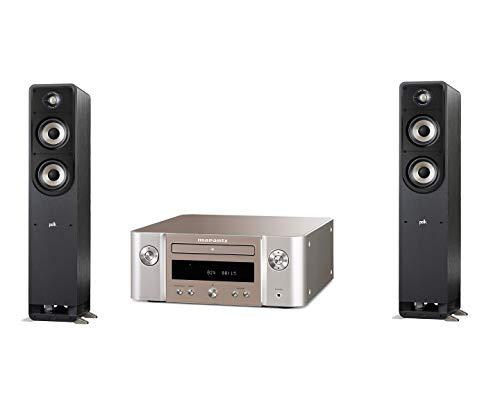 Marantz Melody HiFi Anlage, CD-Player, DAB+ Radio, Bluetooth, 2 Optische TV-Eingänge, USB-Eingang, Silber-Gold + Signature S50E Standlautsprecher, HiFi Lautsprecher für Musik und Heimkino Sound
