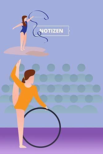 Notizen: Notizbuch, Tagebuch, Notebook, Notizheft etwa A5 (15,3 x 22,9 cm), Dot Grid, Punkteraster: Wettkampf-Turnerin mit Reifen und Gymnastikband