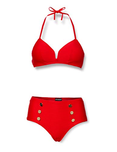 Emporio Armani Swimwear Damen Padded Triangle&HIGH Waist Brief Beachwear SAIL Away Bikini-Set, Rot (Rosso 00074), 40 (Herstellergröße: L)