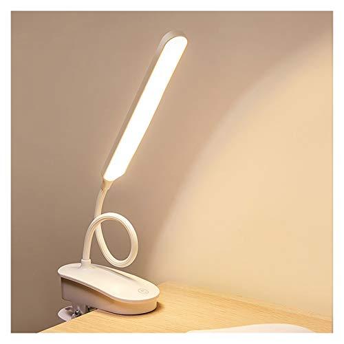 Lámpara De Escritorio LED Clip Recargable En La Luz De Lectura con 3 Modos De Color Protección Ocular Lámpara De Mesa para Niños Oficina En Casa (Color : White)