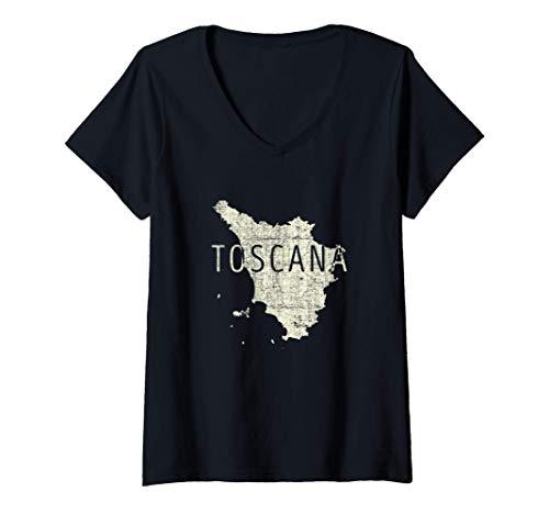 Donna Mappa Toscana Word Art - Souvenir Toscana Italia Maglietta con Collo a V