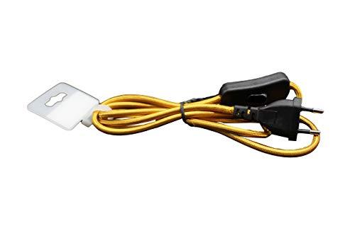 1,5m. conexión textil color dorado. Cable con interruptor de paso.