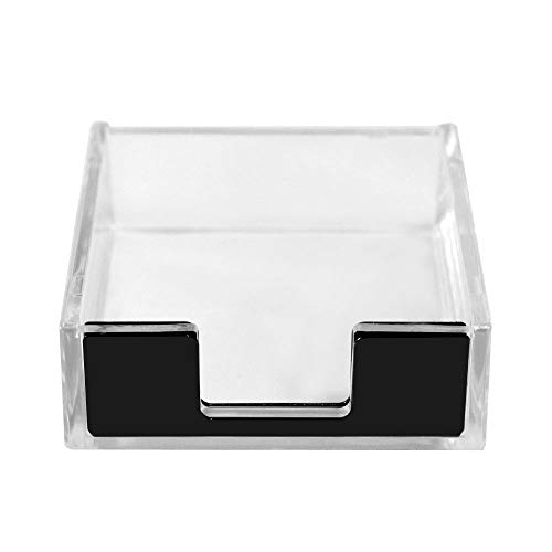 MultiBey 3 x 3 Sticky Note Pad Holder Clear Acrylic Black Self-Stick Memo Note Cube Holders Desktop Organizer Office Accessories