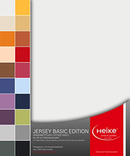 Spannbettlaken Jersey Basic Edition 100% Mako-Baumwolle Deutsche Markenqualität 140 gr/m2 bis 35 cm Höhe für Wasserbetten Boxspringbetten und herkömmliche Matratzen (Weiss)