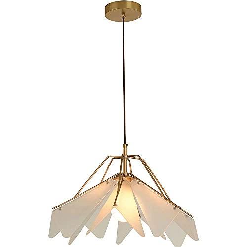 HLY Araña de estilo nórdico, lámpara colgante tipo paraguas invertida, esqueleto de cobre, lámpara de techo con pantalla acrílica, portalámparas E27, lámparas colgantes de estilo nórdico, diámetro 46
