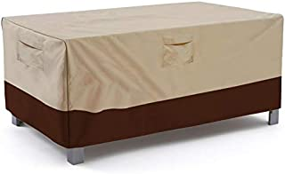 Vailge Veranda Rectangular/Oval Patio Table Cover, Heavy Duty and Waterproof Outdoor Lawn Patio Furniture Covers, Large Beige & Brown