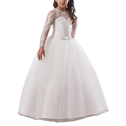 Vestido de Nios Vestido del funcionamiento de la falda de la princesa vestido de novia de manga larga de encaje de la falda del tut para el Baile de Graduacin ( Color : White , Size : 130cm )