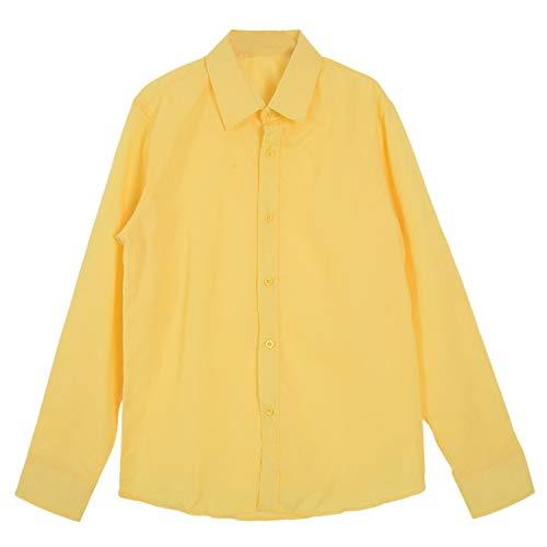 Andifany Moda Hombres con Estilo de Lujo de Ropa Informal del Ajustado Camisetas Casual Manga Larga 17 (Amarillo)- CN XL=US/UK M