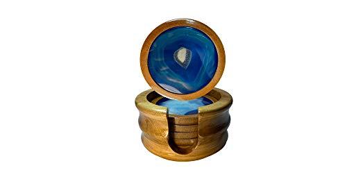Desconocido Posavasos de diseño Original 6 Unidades - Posavasos Artesanos de Madera y ágata - Color (Azul) - Base Antideslizante de Delicado Terciopelo - Incluyen Caja de Almacenamiento
