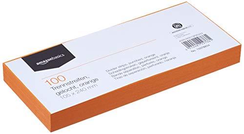 Amazon Basics - Índices separadores, de Manila recilclada, perforados, a todo color, 10,5 x 24 cm, 160 g/m2, paquete de 100,...
